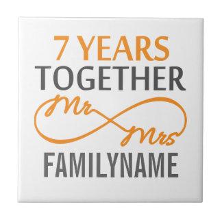 Custom Mr and Mrs 7th Anniversary Tiles