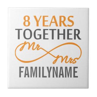 Custom Mr and Mrs 8h Anniversary Tiles