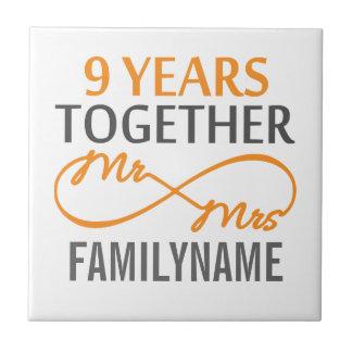 Custom Mr and Mrs 9th Anniversary Tiles