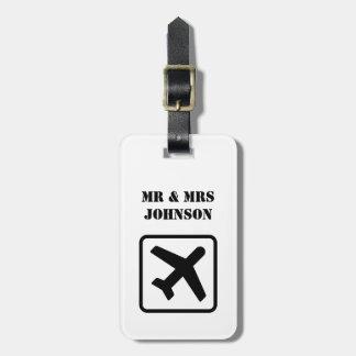 Custom Mr and Mrs airplane travel luggage tags