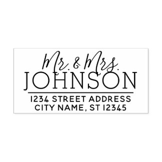 Custom Mr. & Mrs. Family Name and Return Address Self-inking Stamp