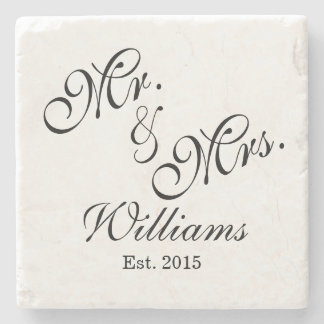 Custom Mr. & Mrs. Wedding Coasters Stone Coaster
