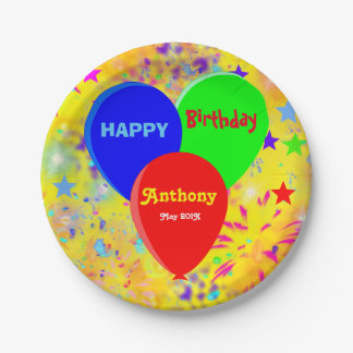 Custom multi colored party paper plate