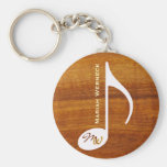 custom music note on wood basic round button key ring