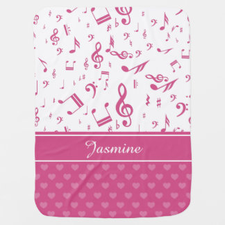 Custom Music Notes and Hearts Pattern Pink White Baby Blanket