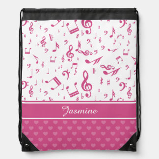 Custom Music Notes and Hearts Pattern Pink White Drawstring Backpack