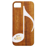 custom musical note on wood iPhone 5 cases