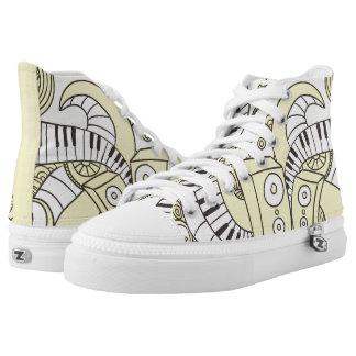 Custom Musical Piano Doodles. Printed Shoes