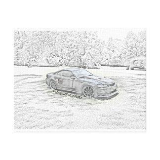 Custom Mustang Sketch Canvas Print