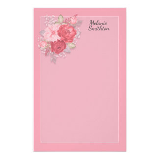 Custom Muted Pink Red Watercolor Floral Stationery