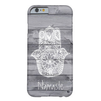 Custom namaste handdrawn Hamsa hand of fatima wood Barely There iPhone 6 Case