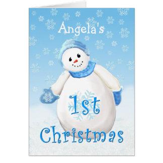 Custom Name 1st Christmas Snowman Greeting C Card