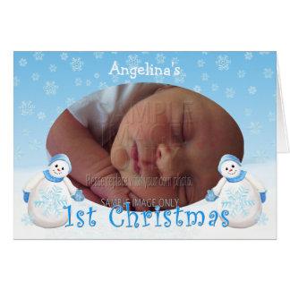 Custom Name 1st Christmas Snowman Photo Card
