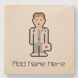 Custom Name 8Bit Doctor Stone Coaster