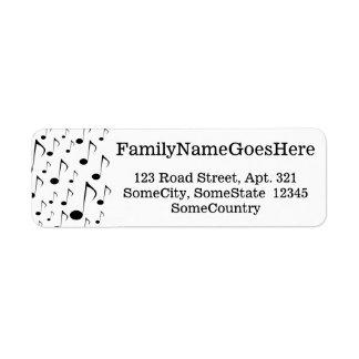 Custom Name/Address + Many Musical Notes Pattern Return Address Label