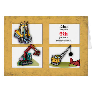 Custom Name, Age, Birthday Diggers, Trucks Card