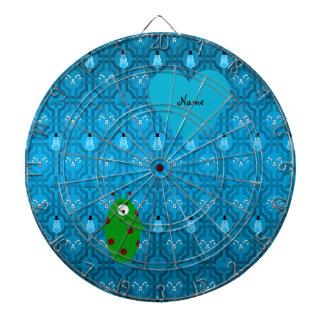 Custom name alien blue snowman trellis pattern dart board