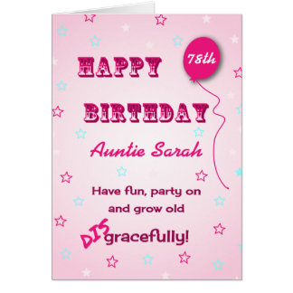 Custom name and age funny quote 78th birthday greeting card
