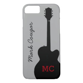 custom name and initials black rock guitar iPhone 7 case