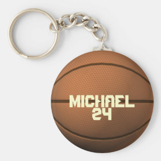 Custom Name and Number Basketball Keychain