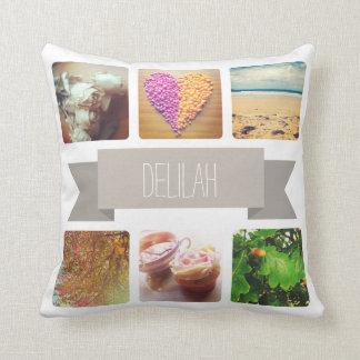 Custom Name and Photo Instagram Throw Pillow