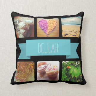 Custom Name and Photo Instagram Throw Pillow