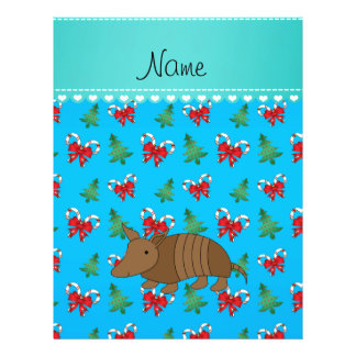 Custom name armadillo sky blue candy canes bows 21.5 cm x 28 cm flyer