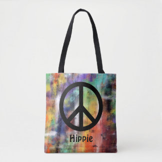 Custom Name Artistic Grunge Peace Sign Tote Bag