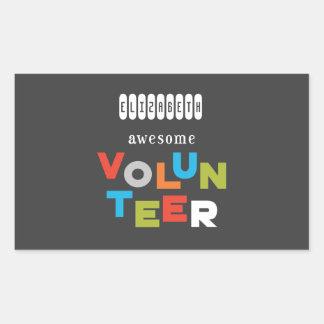Custom Name, Awesome Volunteer Appreciation Rectangular Sticker
