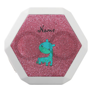Custom name baby turquoise giraffe pink glitter white boombot rex bluetooth speaker