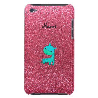 Custom name baby turquoise giraffe pink glitter barely there iPod covers