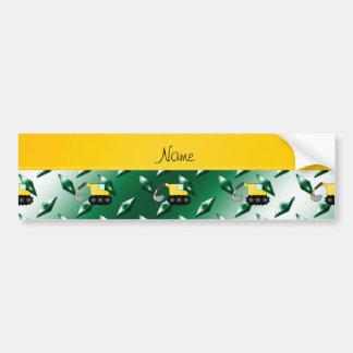 Custom name backhoe green diamond steel plate bumper sticker