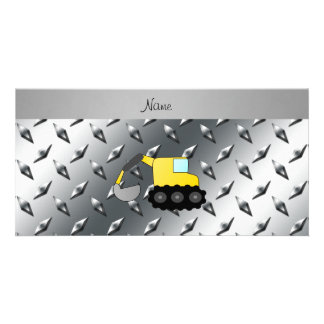 Custom name backhoe silver diamond steel plate customised photo card