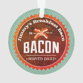 Custom name bacon breakfast Christmas ornament