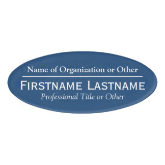 Custom Name Badge - Organization or Church - Blue Name Tag