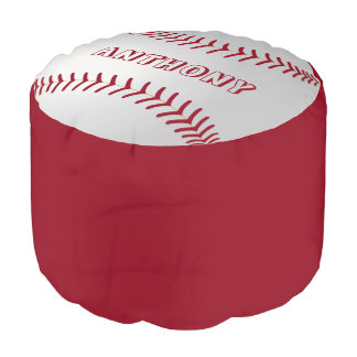 Custom Name Baseball Theme Round Pouffe