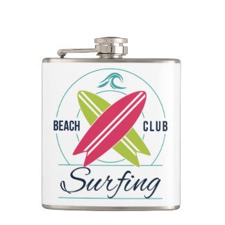 Custom Name Beach Club Surfing flask