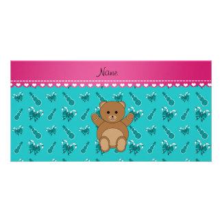 Custom name bear turquoise candy canes snowmen customised photo card