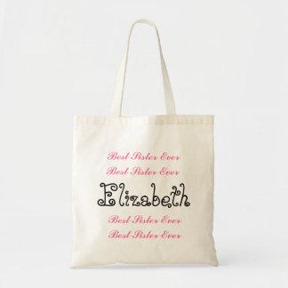 Custom Name Best Sister Ever Pink Black Script Tote Bag