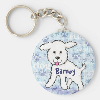 Custom Name Bichon Frise Dog Keychain