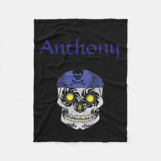 Custom Name Biker Candy Skull Fleece