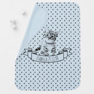 Custom name birthday | cute kitten cat | blue baby blanket