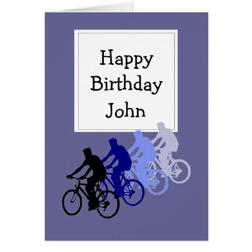 Custom Name Birthday for Bike, Cycle Fan Greeting Cards