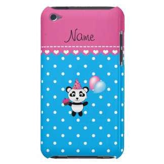 Custom name birthday panda blue white dots iPod touch cover