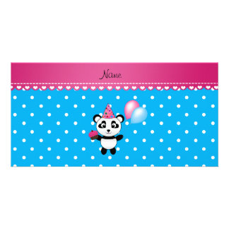 Custom name birthday panda blue white dots photo card template