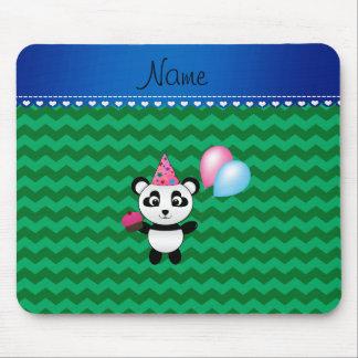 Custom name birthday panda green chevrons mouse pads