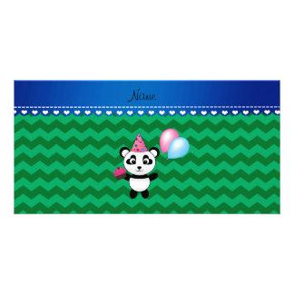 Custom name birthday panda green chevrons photo card template