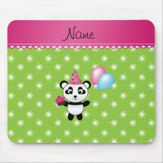 Custom name birthday panda green flowers mousepads