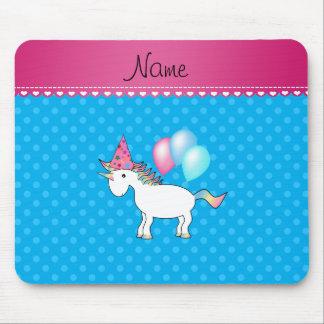 Custom name birthday unicorn blue polka dots mousepad