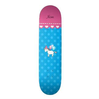 Custom name birthday unicorn blue polka dots skate decks